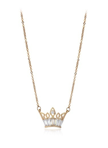Tophills Diamond Co. 0,60 Ct Pırlanta Efekt Altın Crown Trapes Sarı Kolye Renkli